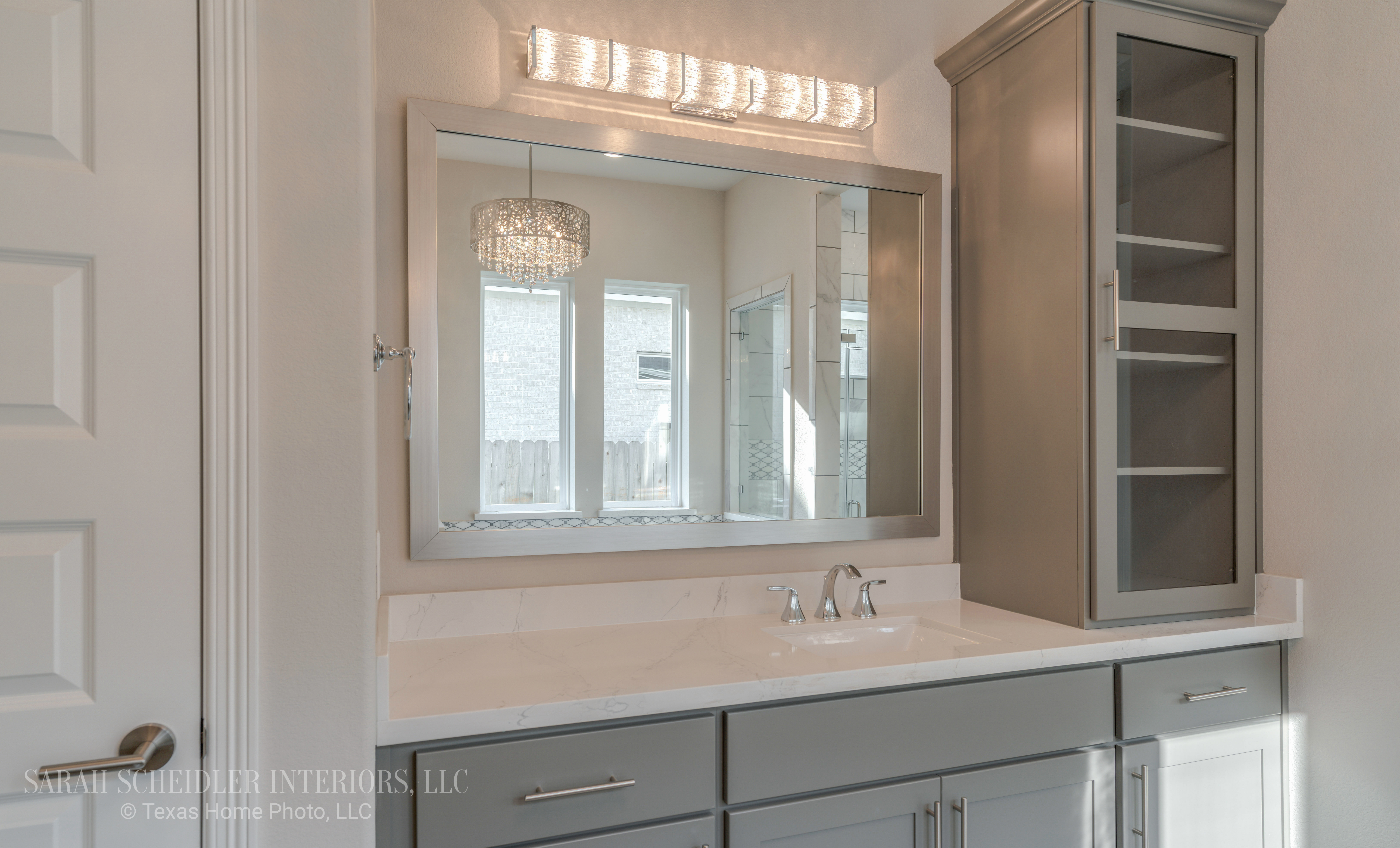 White and Grey Primary Bathroom Vanity (Hers) with Silestone Quartz Countertops, Chrome Finishes, and Crystal Lighting