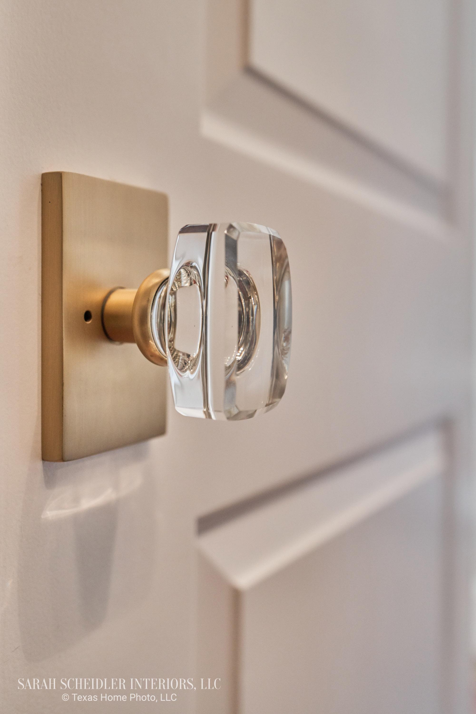 Satin Brass and Crystal Designer Door Knob