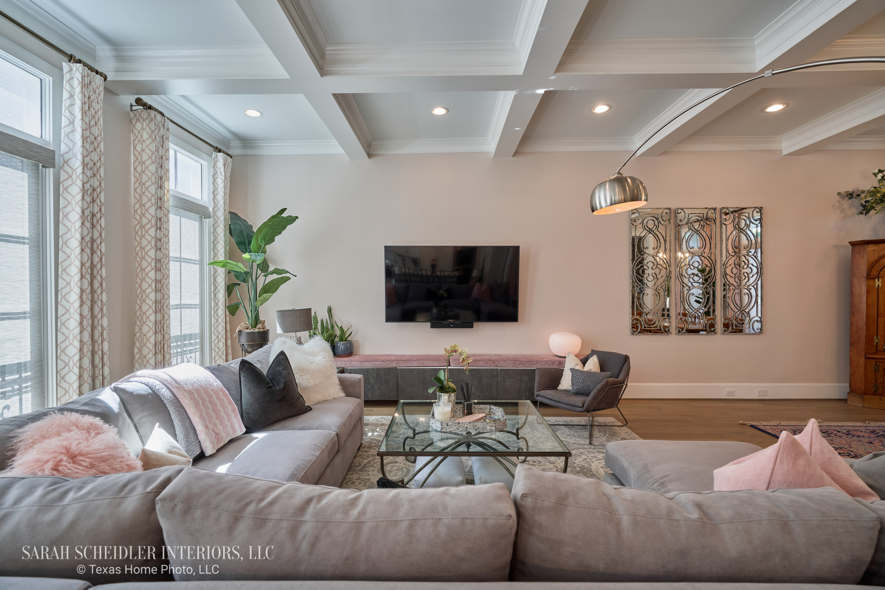 Open-Concept Living Room Design with Pops of Color, Decorative Wall Mirrors, and Custom Jaclyn Smith Constance Cameo Drapes