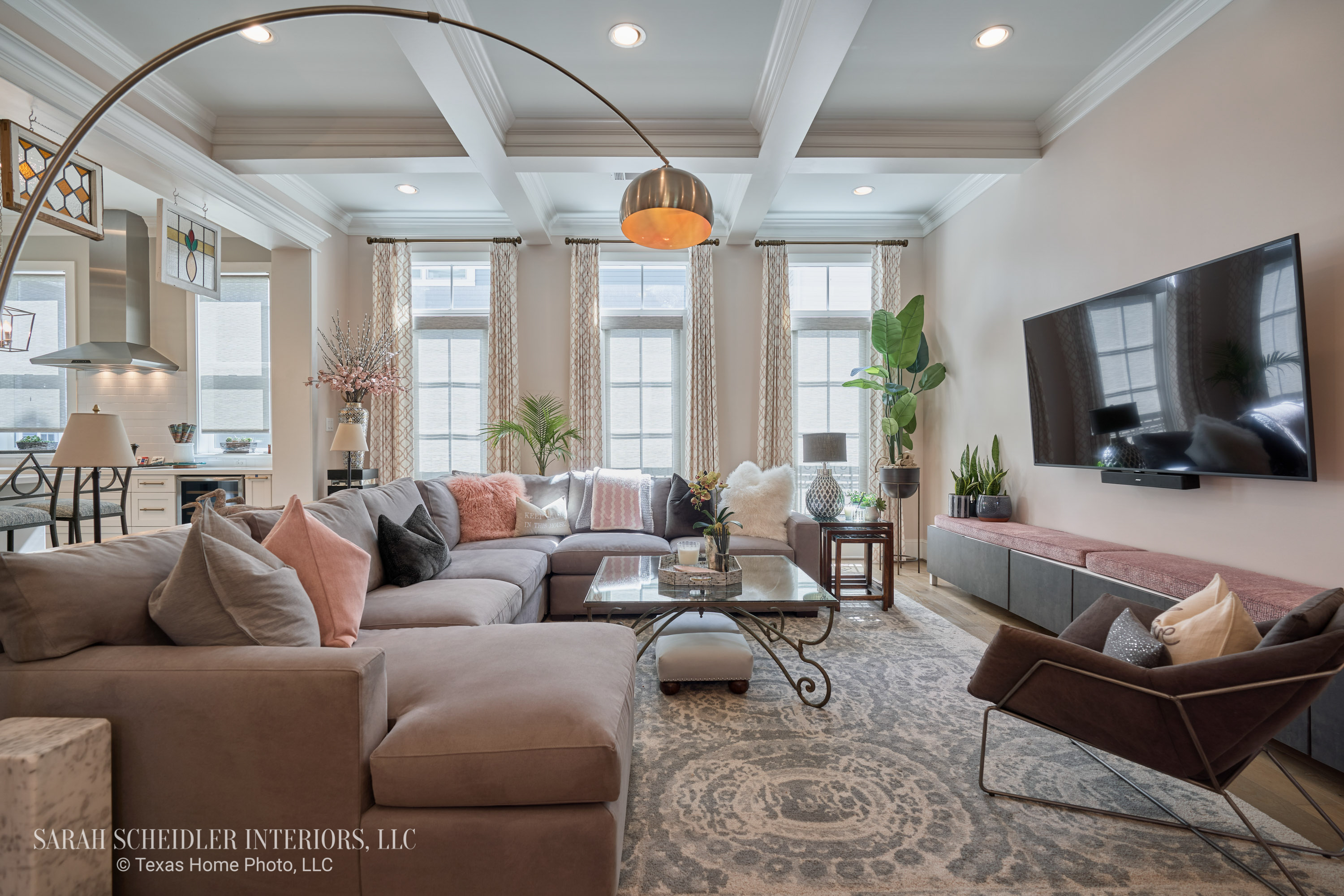 Open-Concept Living Room Design with Pops of Color and Custom Jaclyn Smith Constance Cameo Drapes