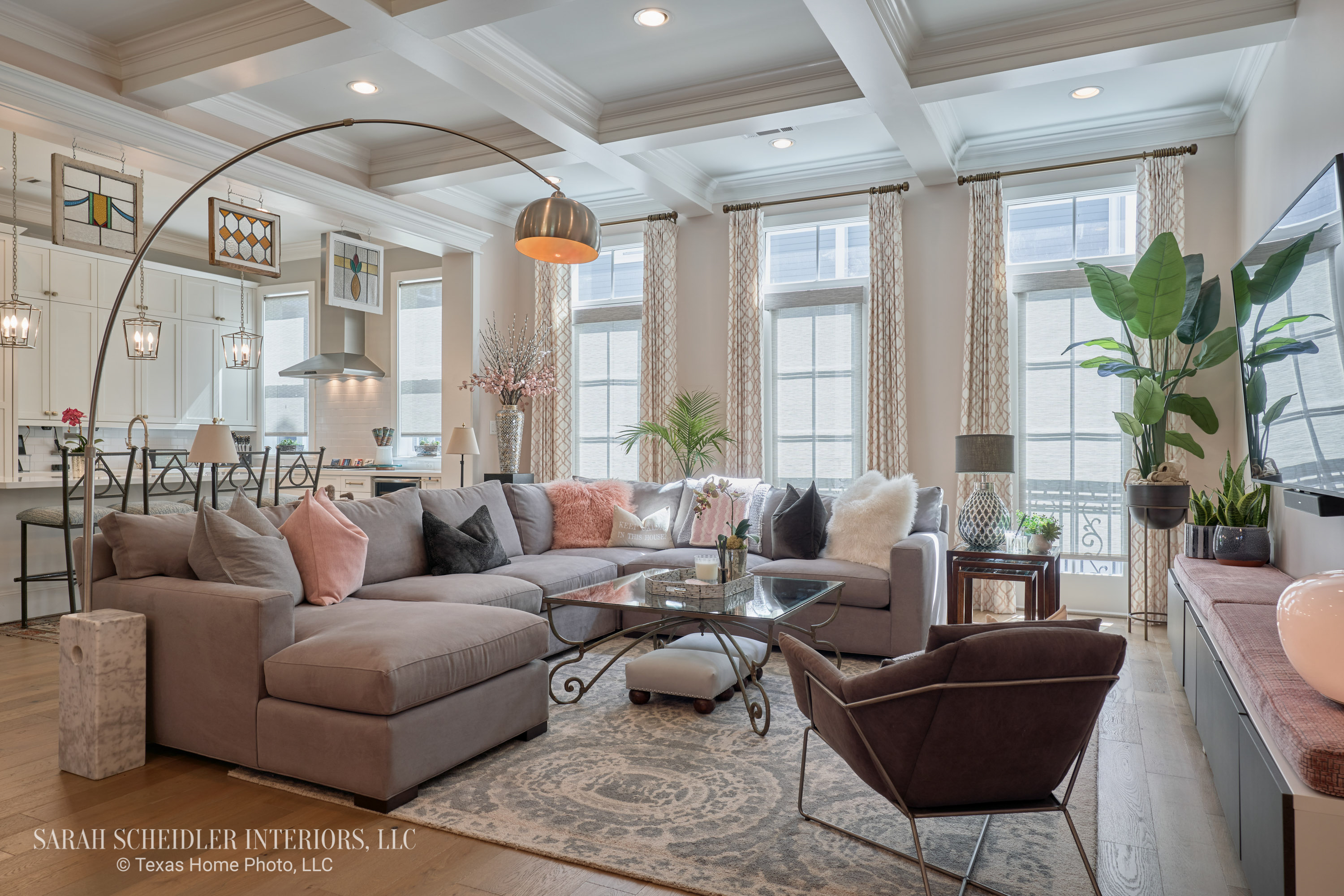 Open-Concept Living Room and White Kitchen Design with Pops of Color and Custom Jaclyn Smith Constance Cameo Drapes