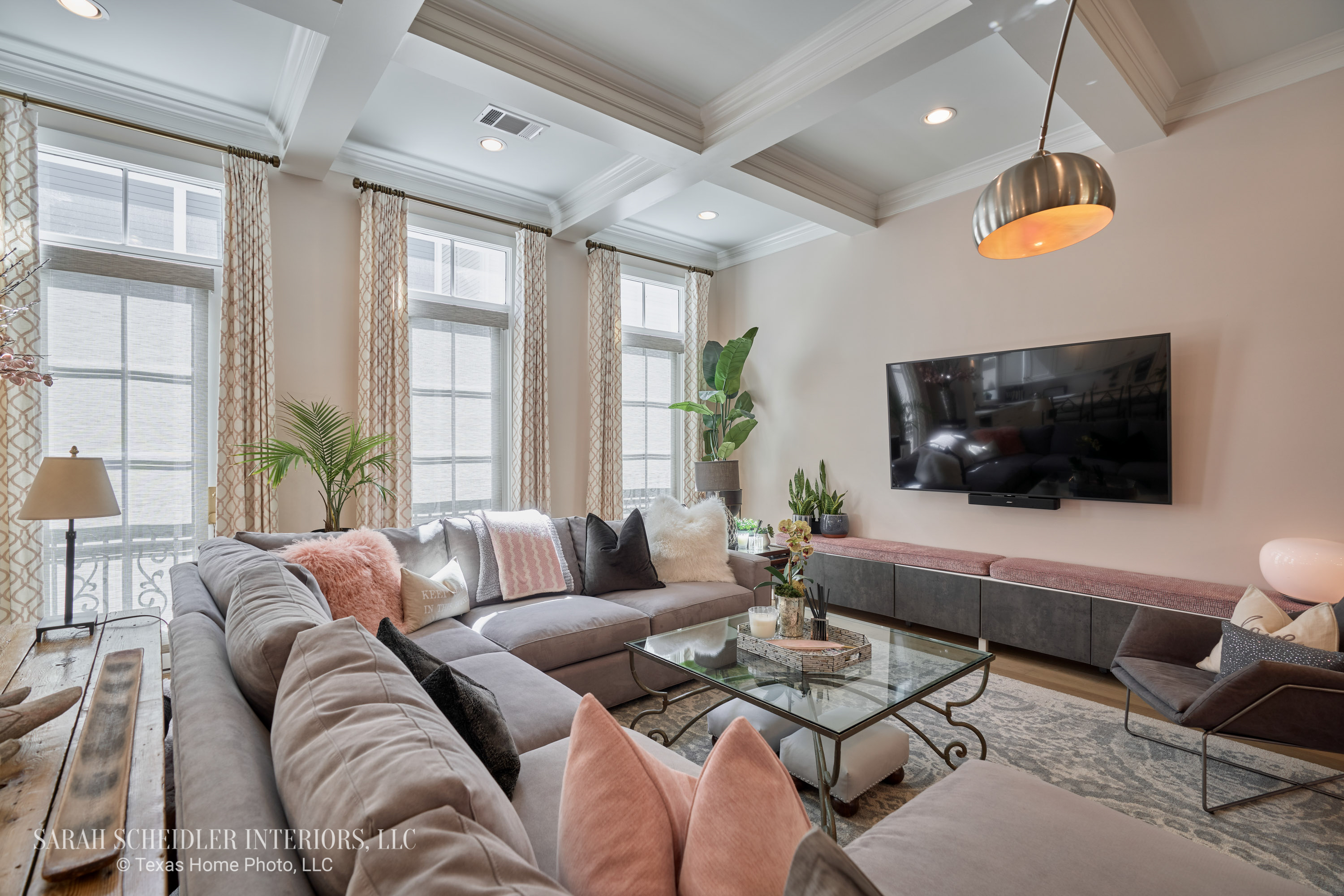 Living Room Design with Pops of Blush Pink and Jaclyn Smith Constance Cameo Custom Drapes