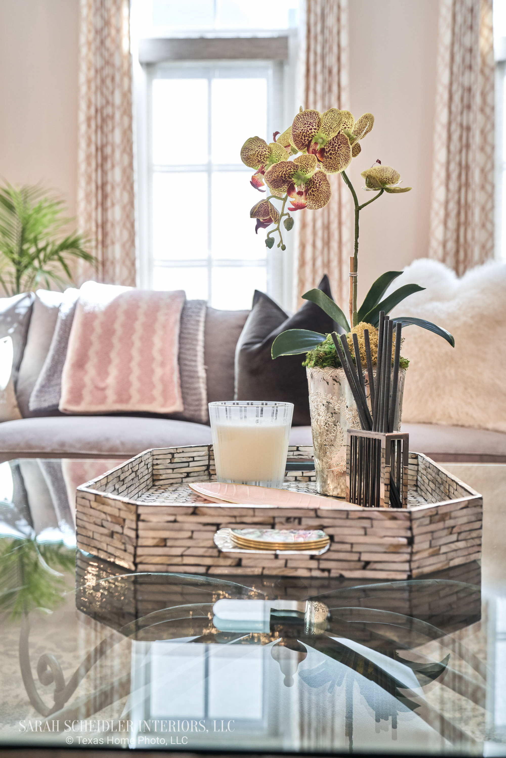 Living Room Design Accents with Faux Orchid and Custom Jaclyn Smith Constance Cameo Drapes