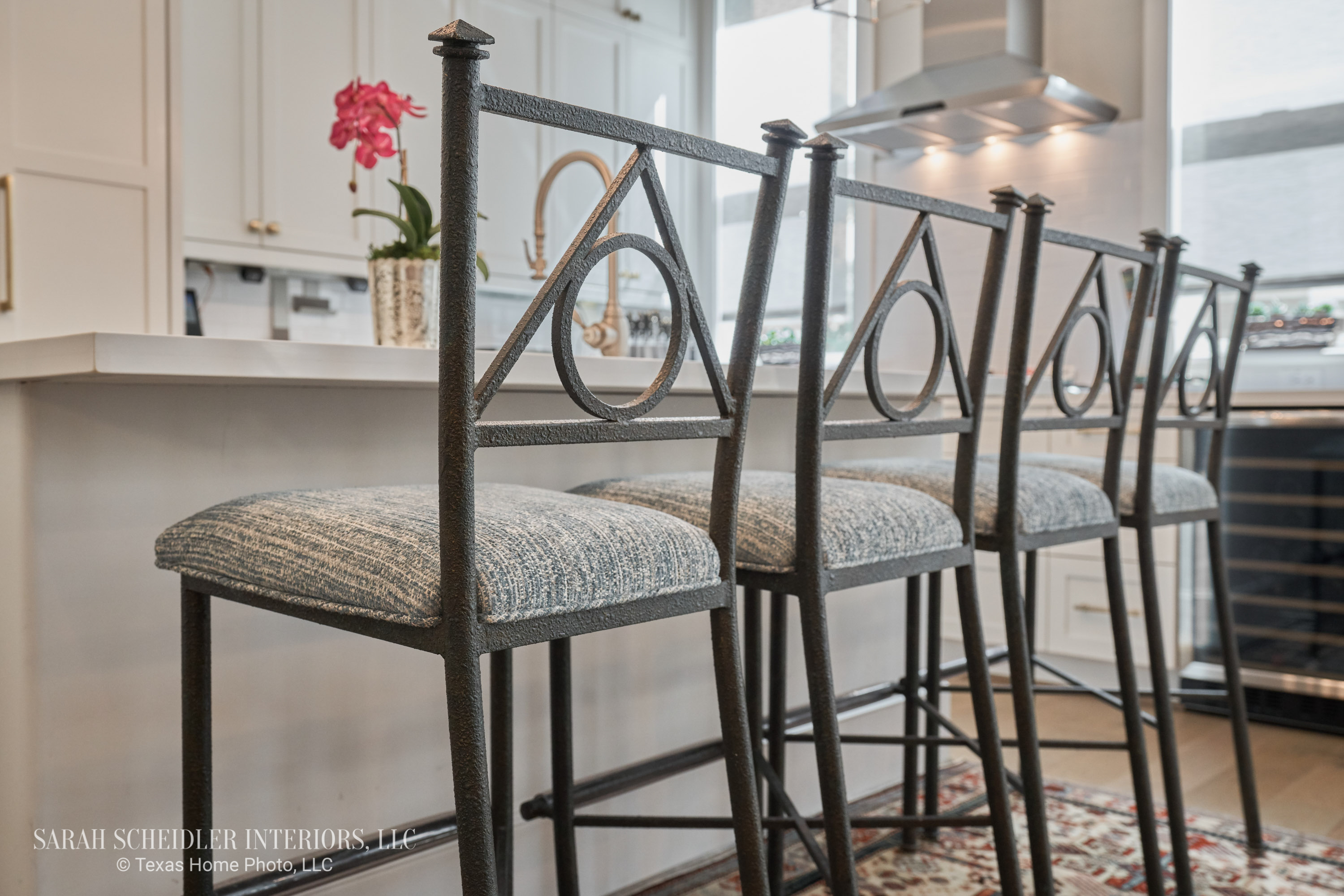 White Kitchen with Bar Stools Reupholstered in Prato Crypton Home Teal