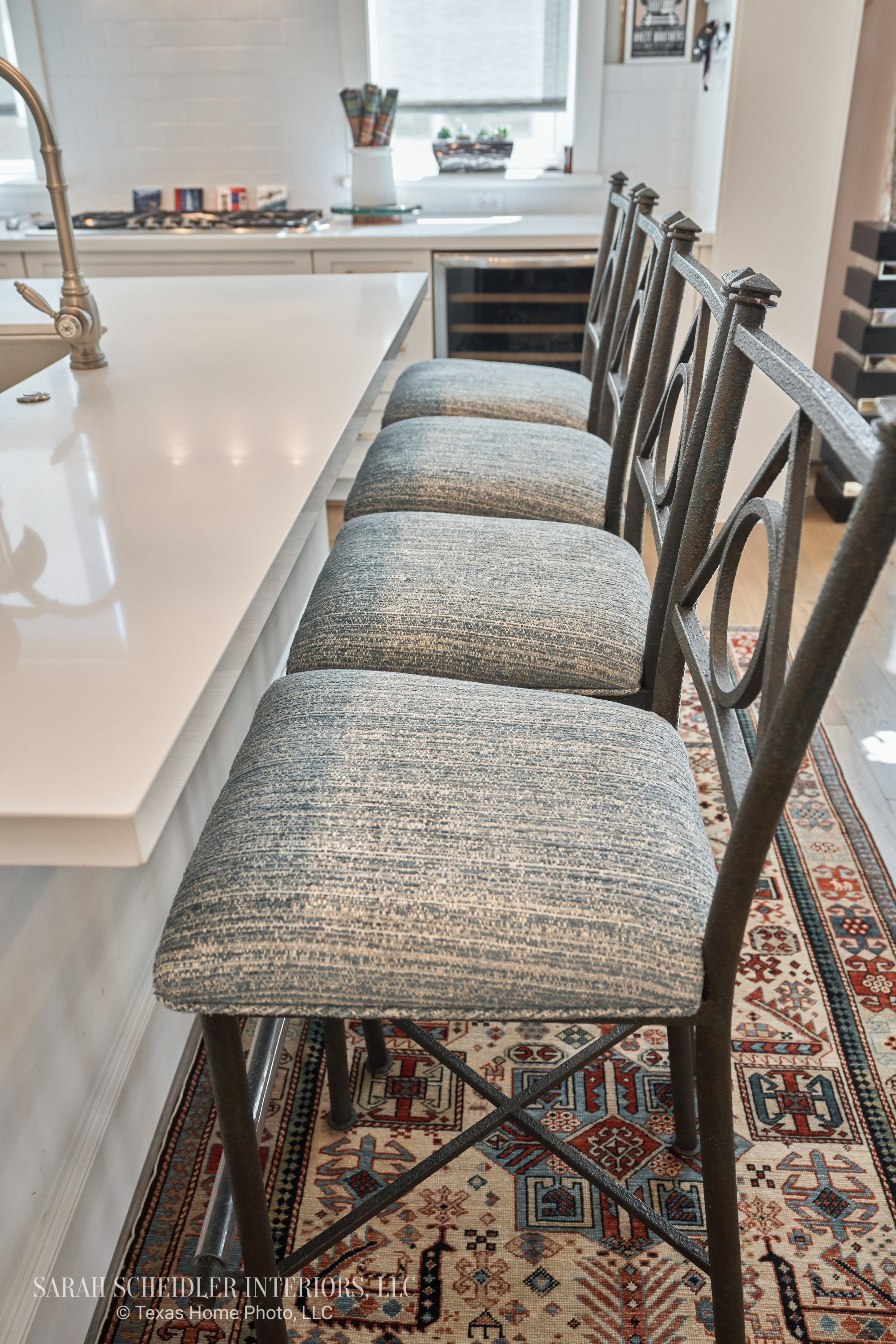 Kitchen Bar Stools Reupholstered in Prato Crypton Home Teal