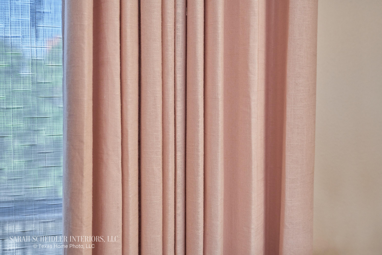 Custom Dining Room Drapes in Arlon Luxe Linen 71 Petal