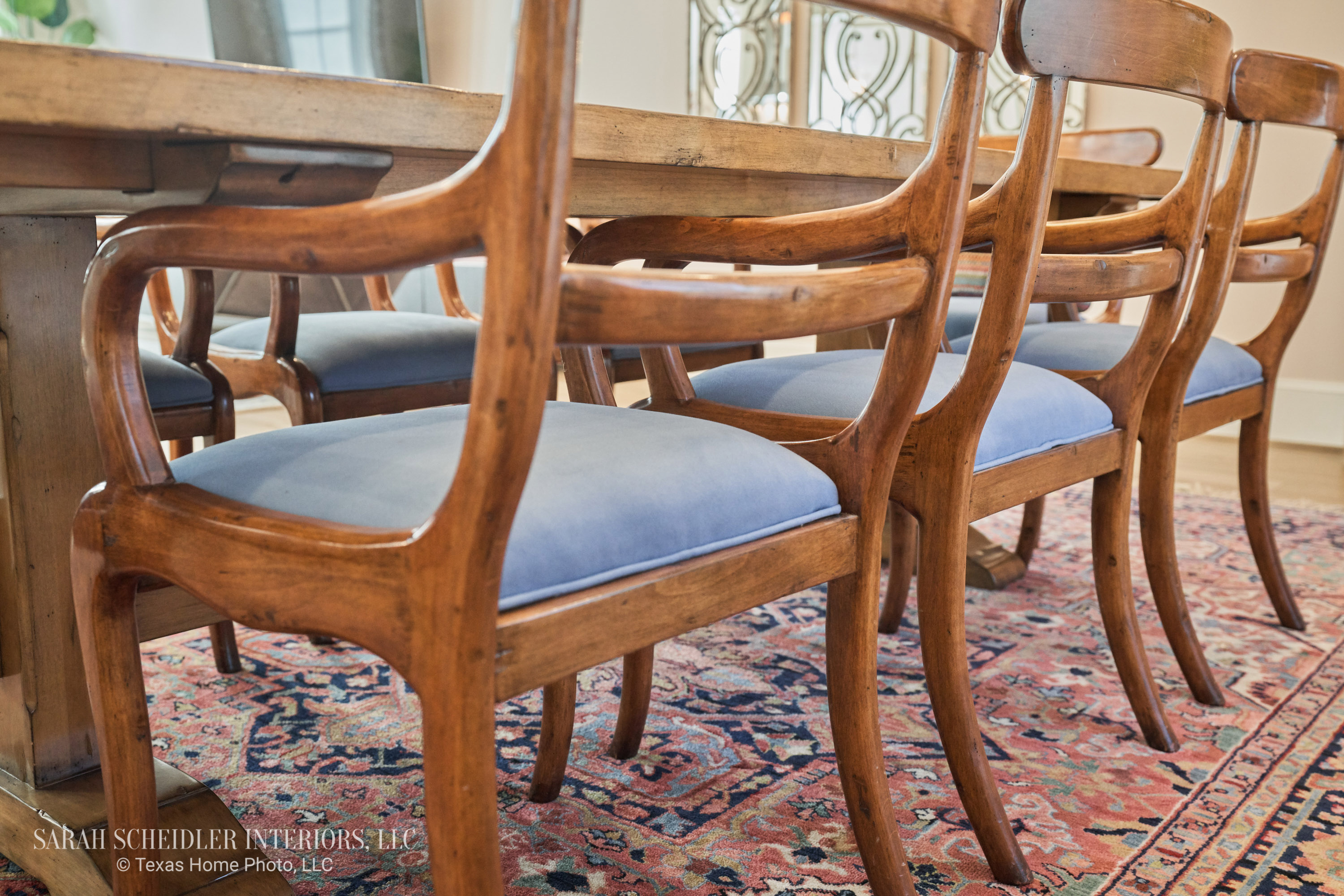 Antique Dining Set Reupholstered with Beautiful Blue Upholstery