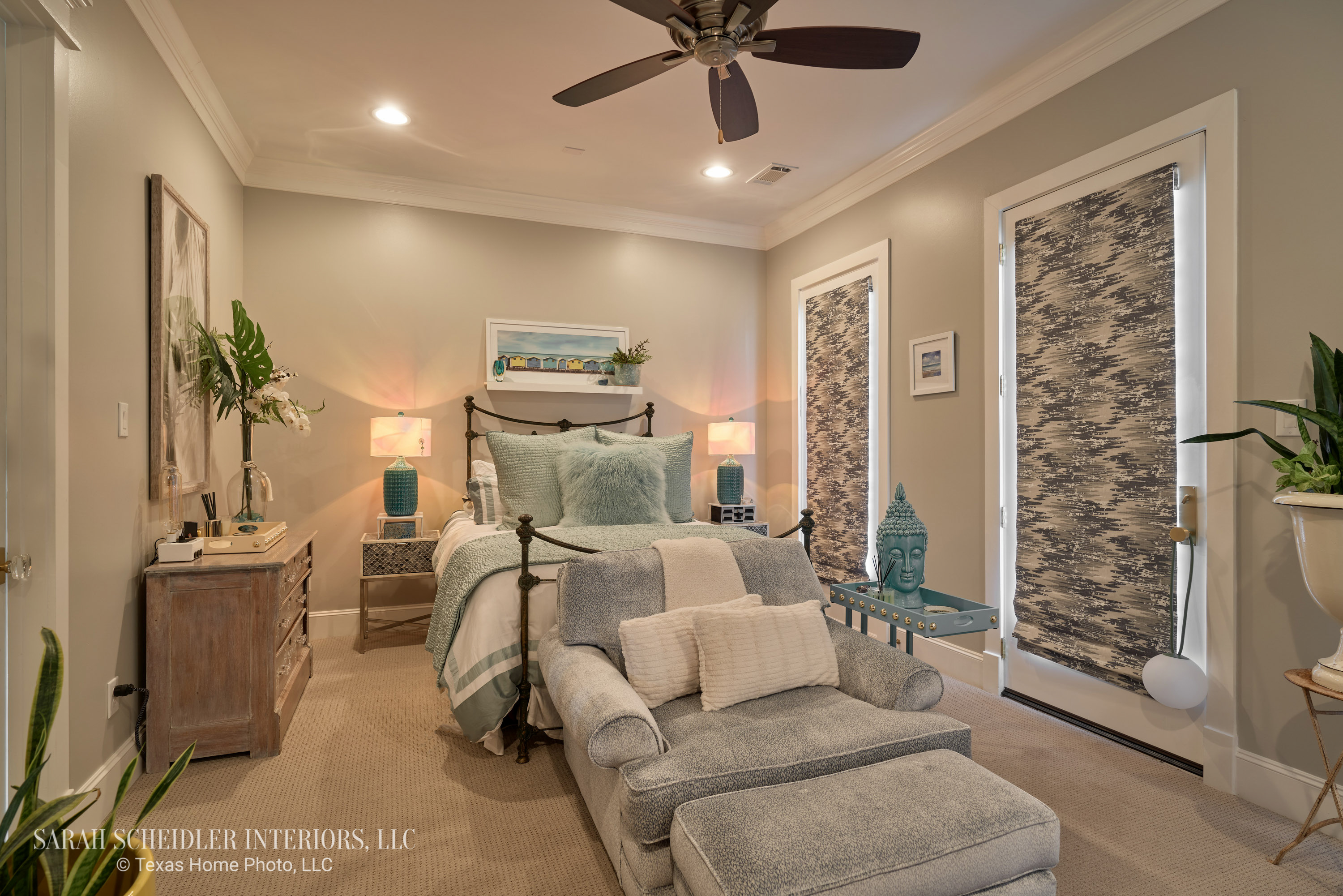 Fun, Colorful, and Eclectic Master Bedroom Design with Turquoise Accents