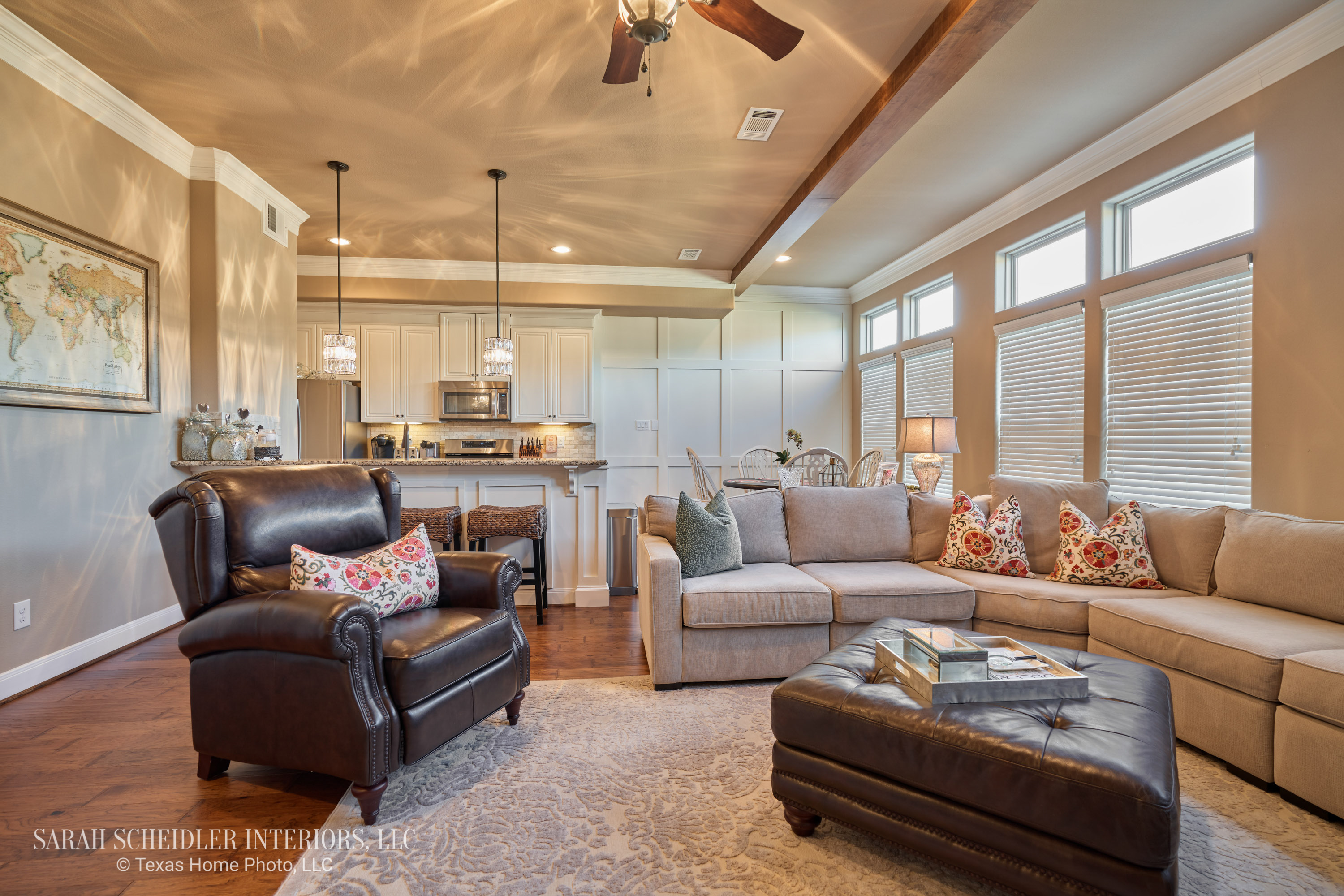 Open-Concept Living Room to White Kitchen Design