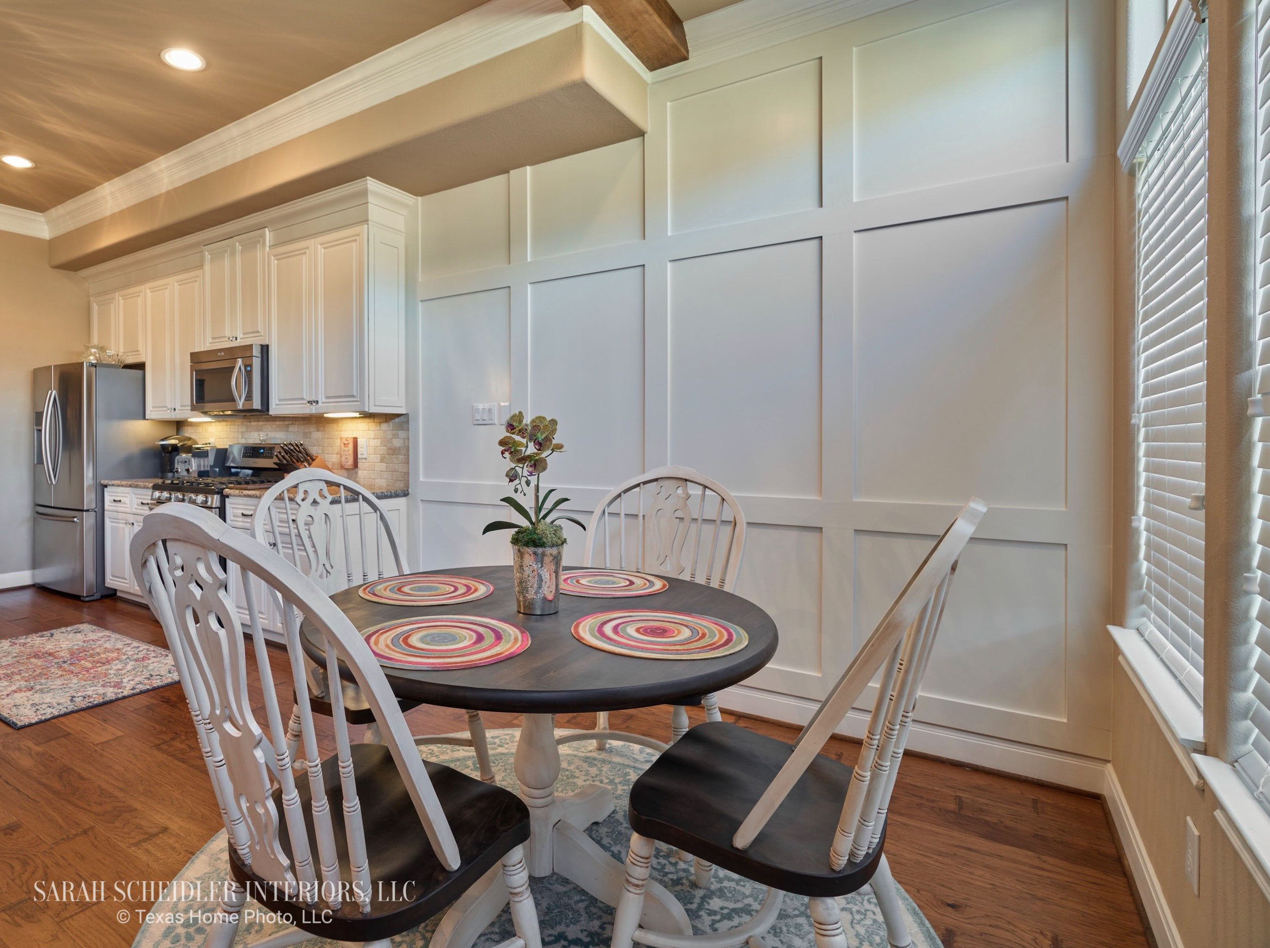 White Kitchen with Board and Batten Accent Wall