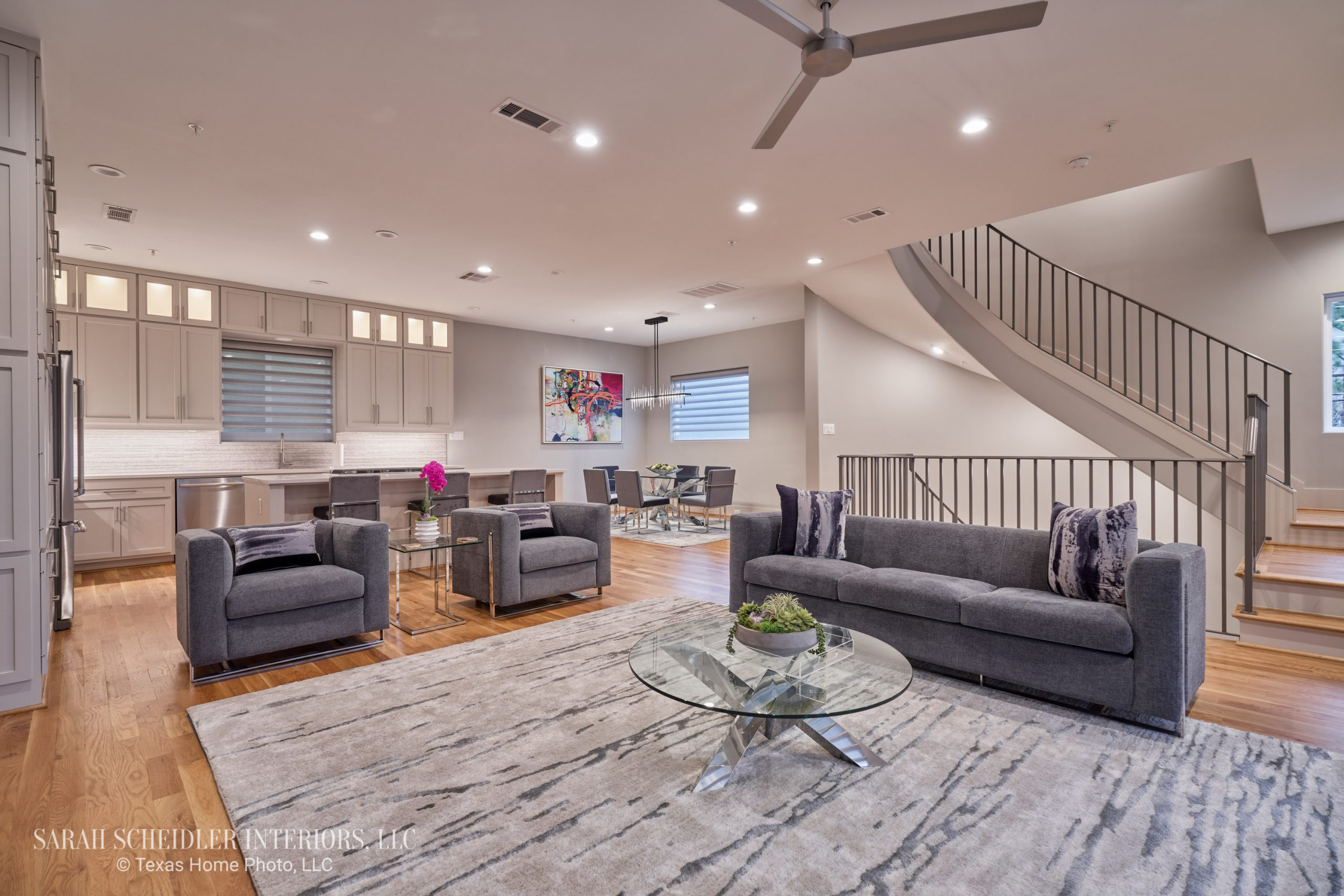 Modern Open-Concept Living Room, Kitchen, and Dining Room Designs