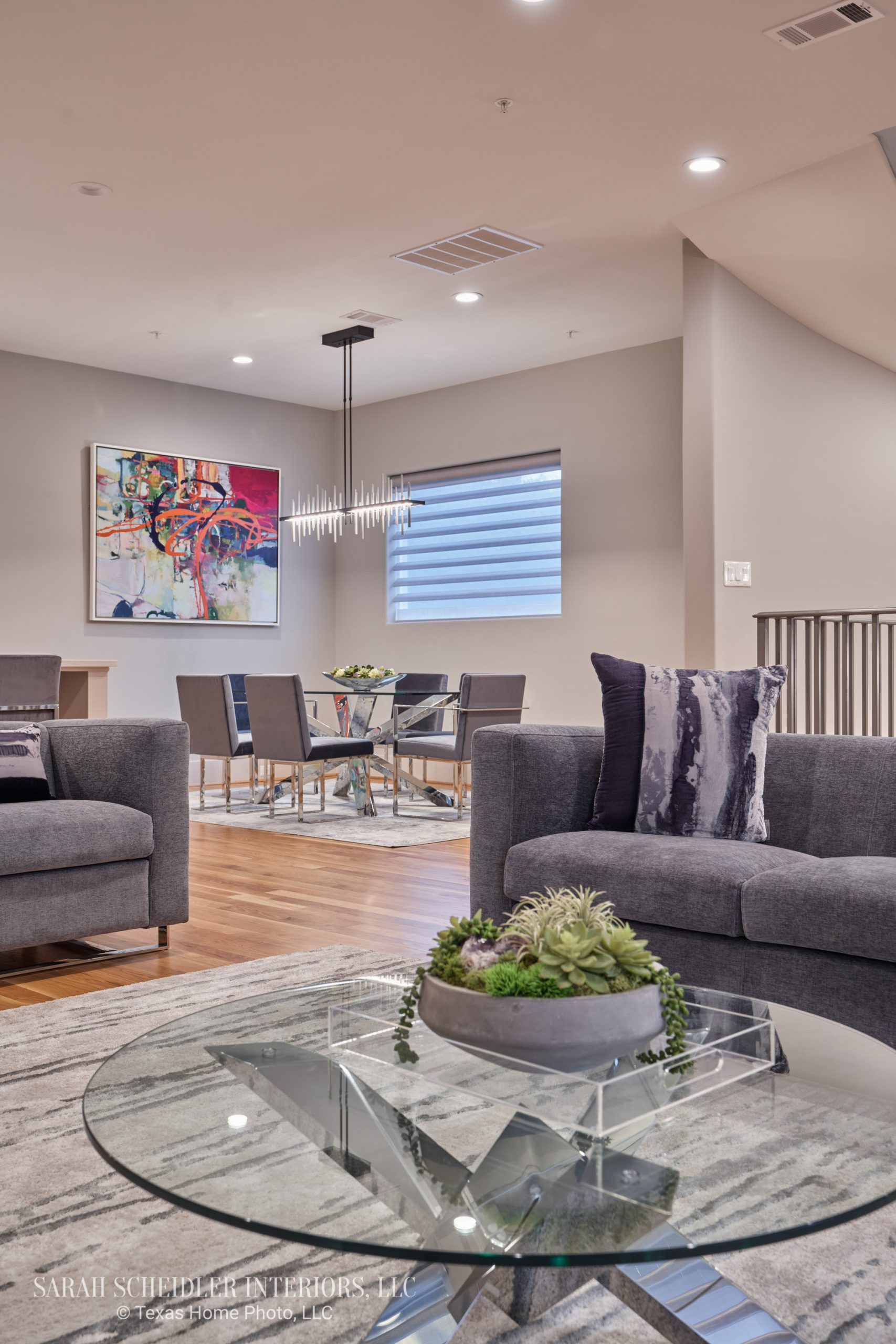 Modern Open-Concept Living Room Looking into Dining Room