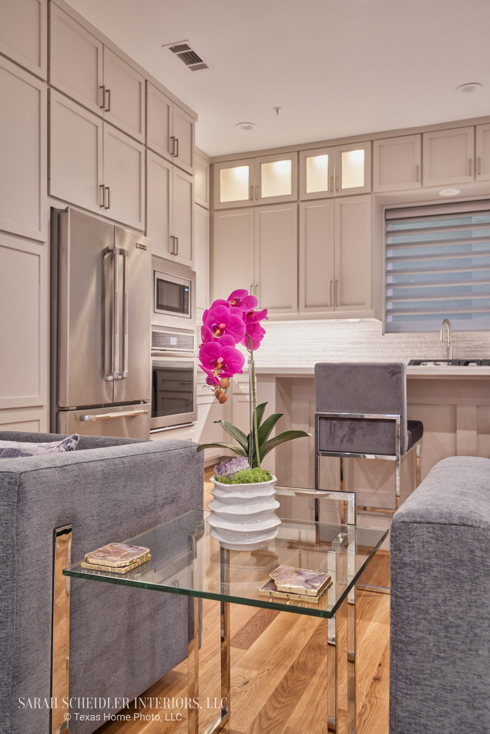 Modern Open-Concept Living Room Design Looking into Kitchen