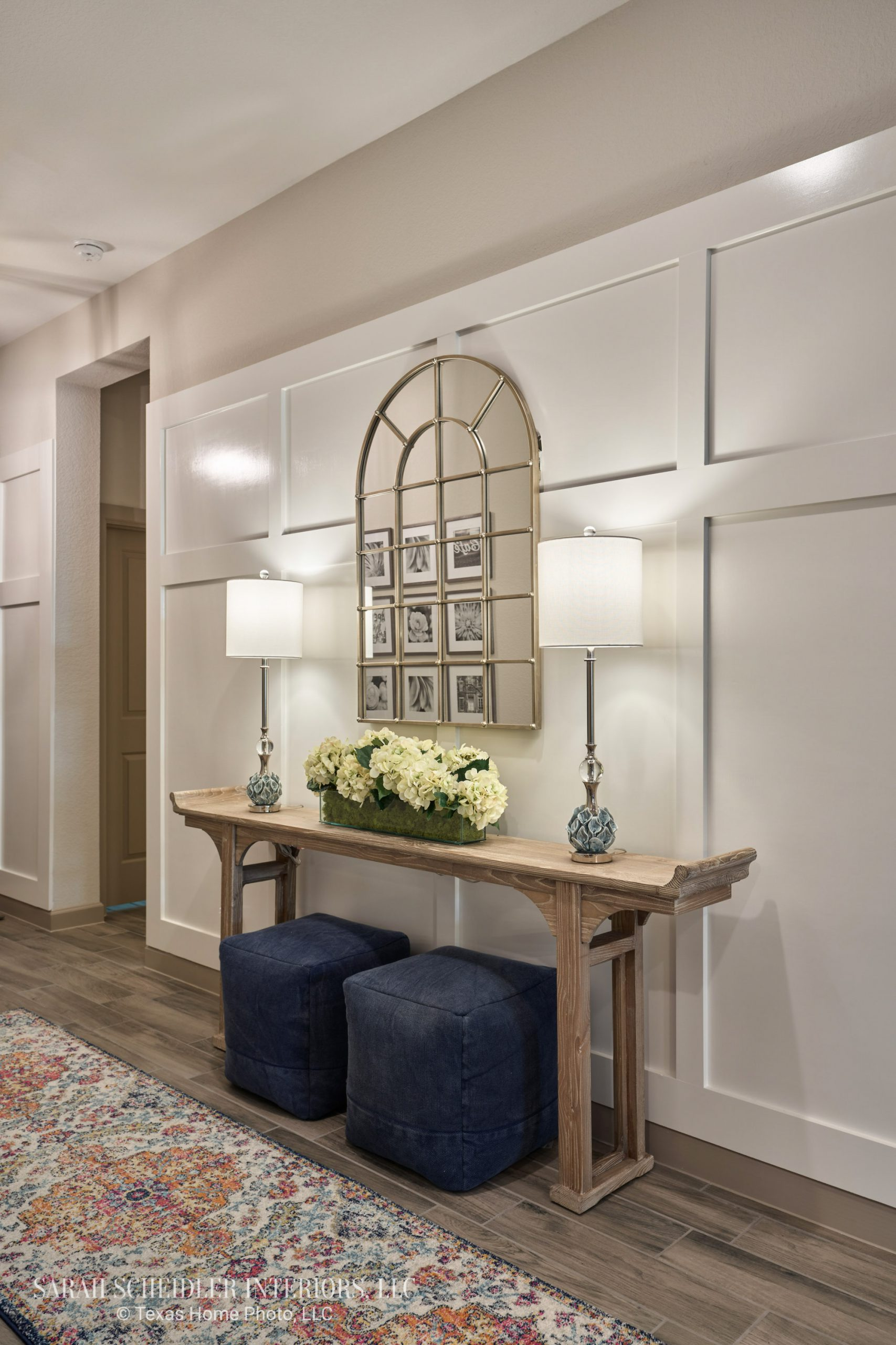 Entry Design with Custom Board and Batten Accent Wall and Console Table