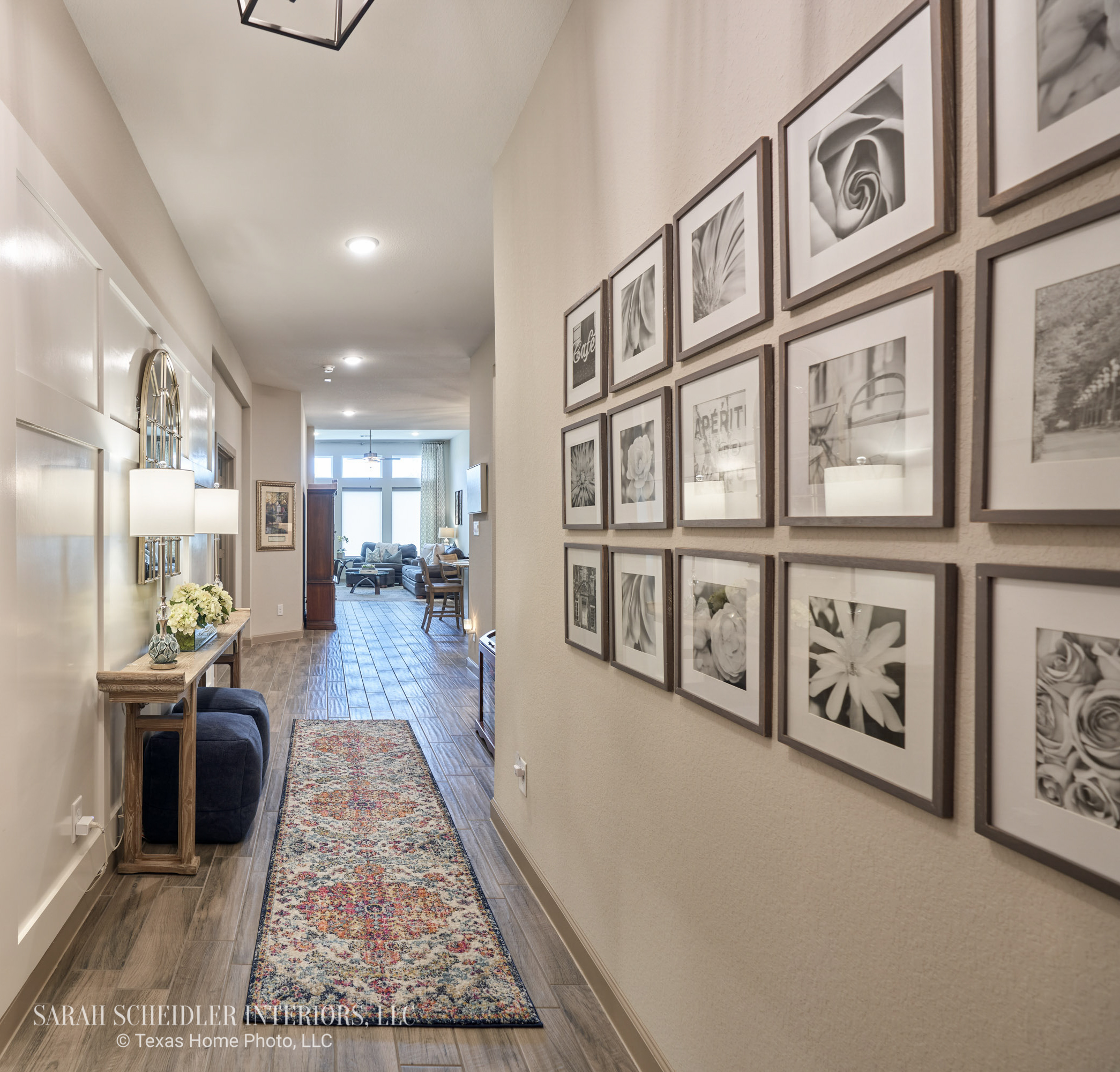 Entry Design with Gallery Wall and Custom Board and Batten Accent Wall
