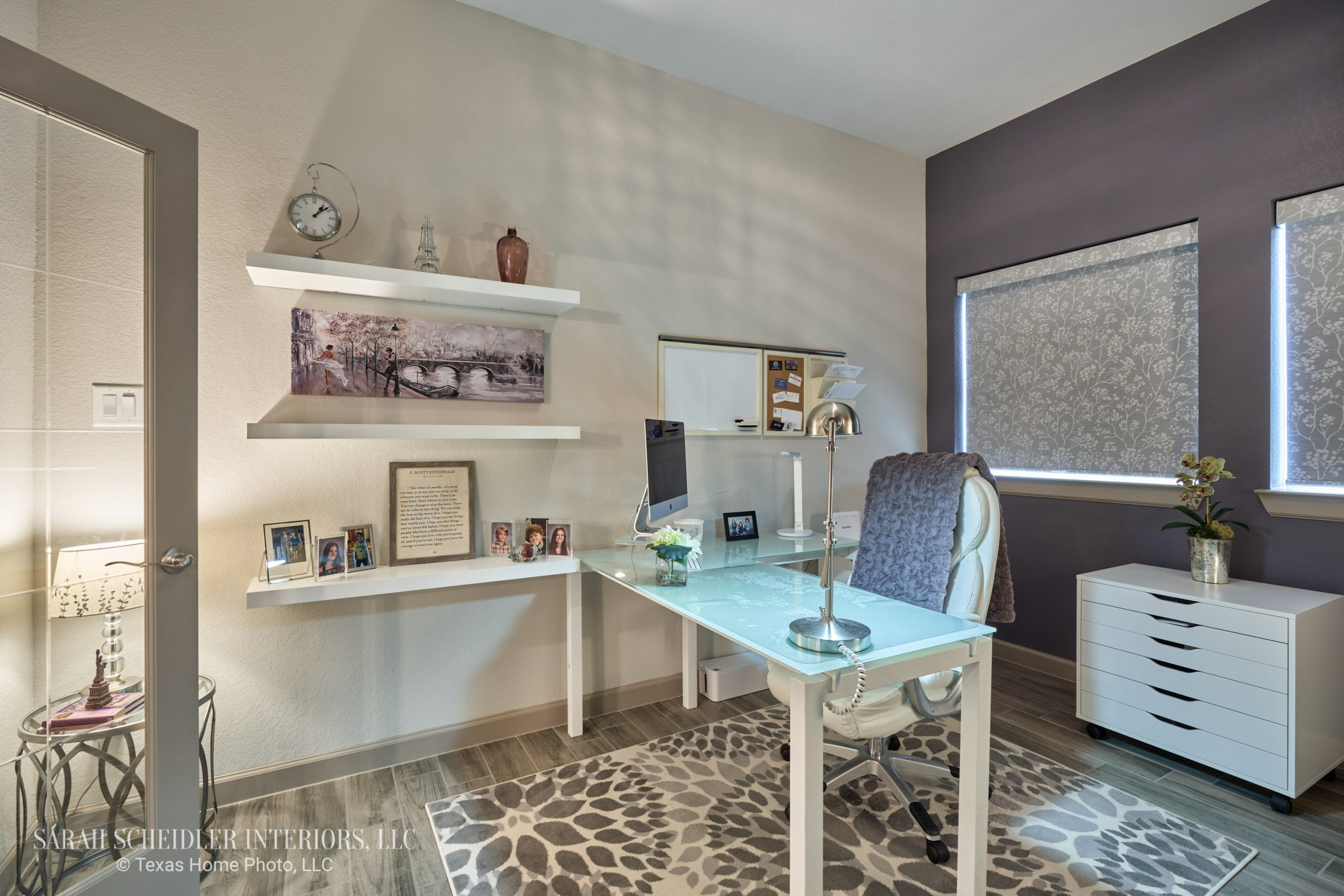 Home Office Design with Purple Accent Wall