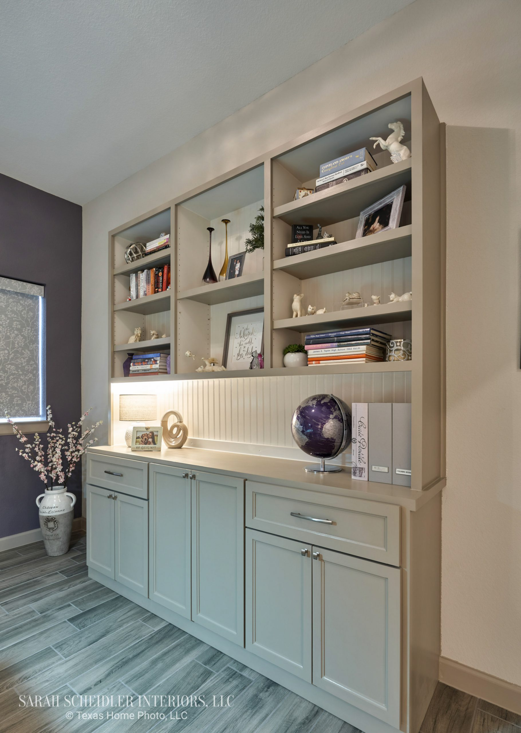 Home Office Design with Purple Accent Wall and Custom Built-Ins