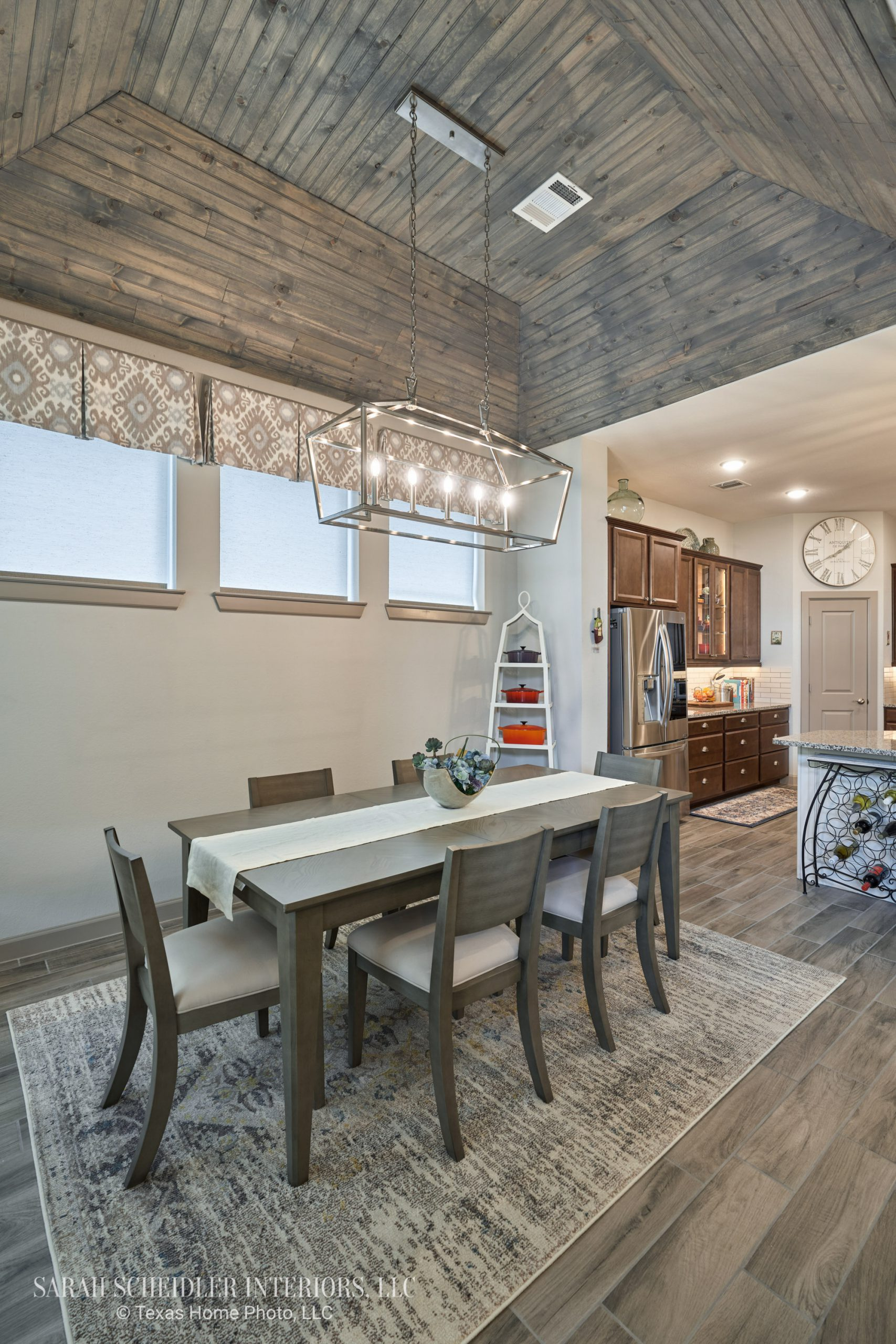 Open-Concept Dining Room with Custom Wood Ceiling and Kick Pleat Valances