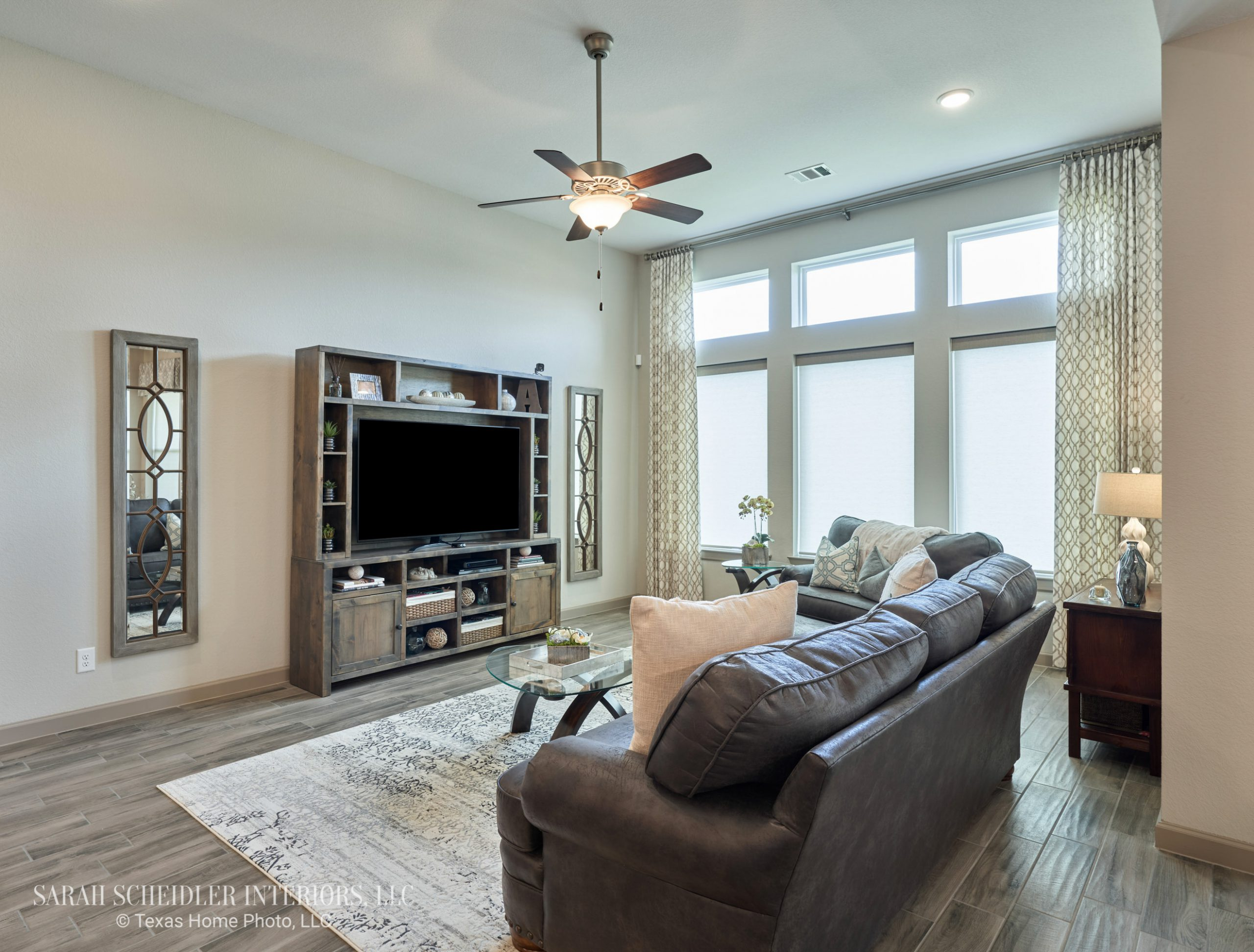 Open-Concept Living Room Design with Custom Drapery Panels